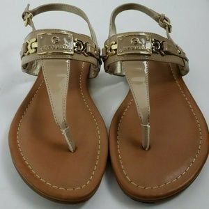 G by Guess Sandals Nude Beige Thong Gold Size 8.5